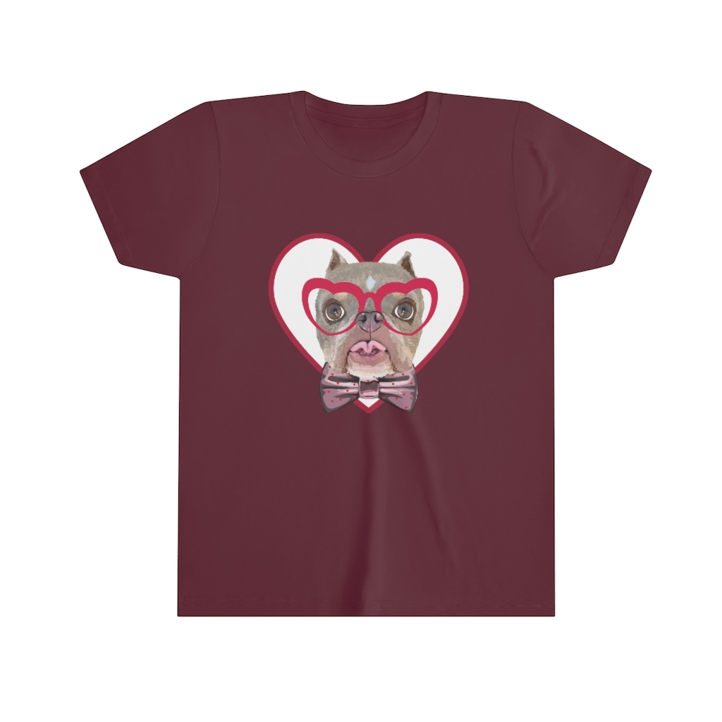 Road Dogs and Rescue Atlas Love Youth Short Sleeve Tee Front Maroon