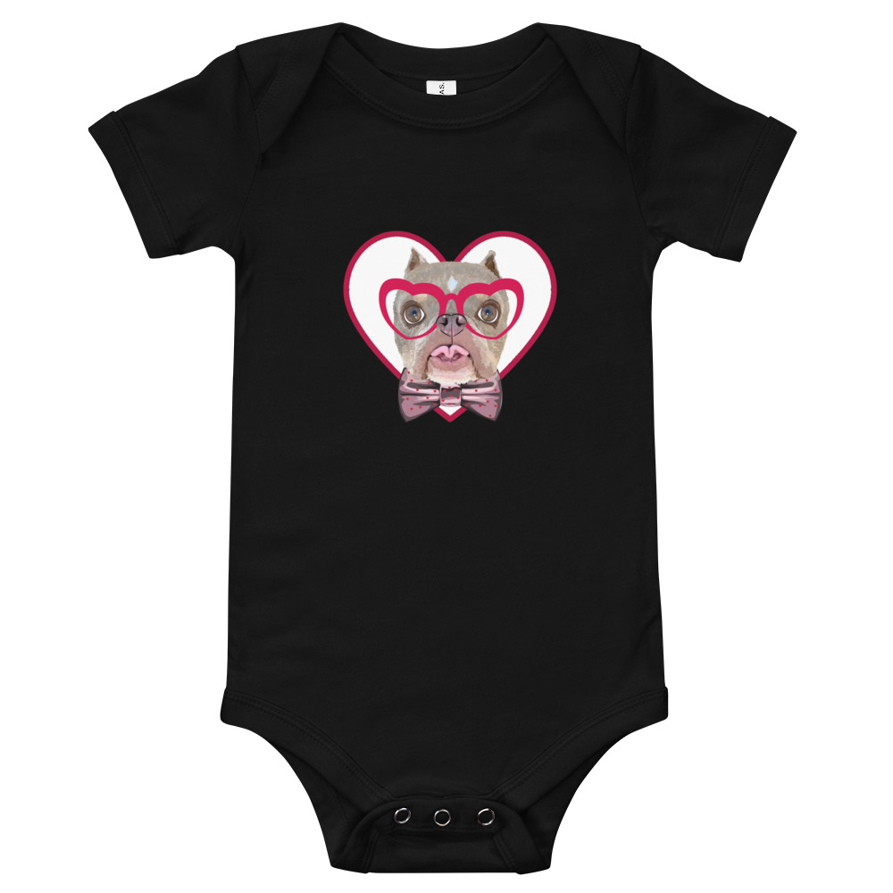 Road Dogs and Rescue Atlas Love Short Sleeve Baby Bodysuit Front Black