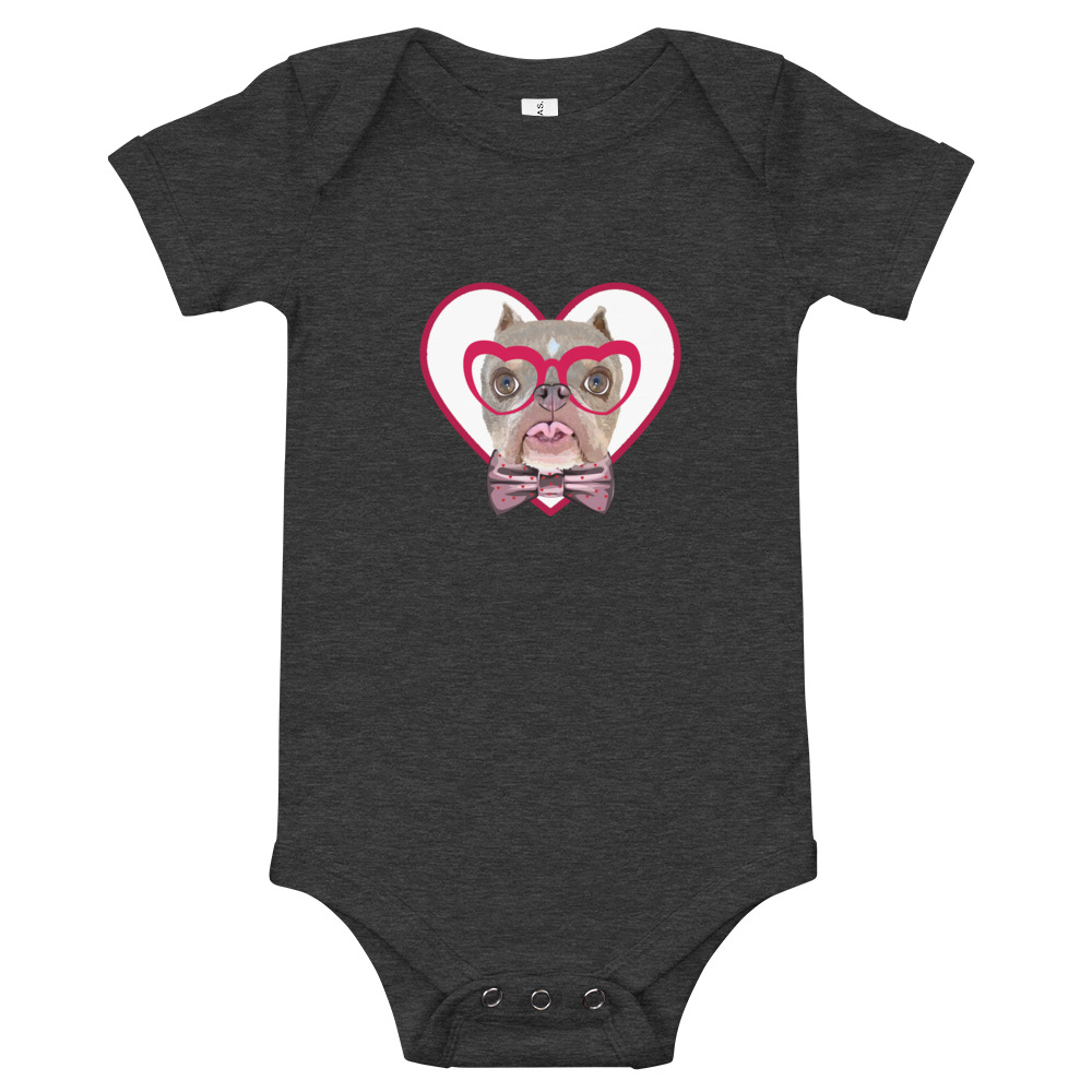 Road Dogs and Rescue Atlas Love Short Sleeve Baby Bodysuit Front Dark Grey Heather