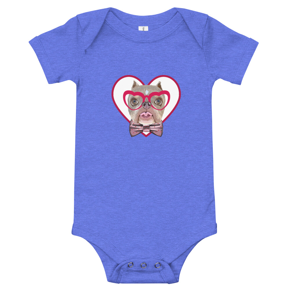 Road Dogs and Rescue Atlas Love Short Sleeve Baby Bodysuit Front Heather Columbia Blue
