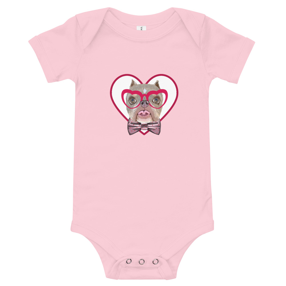 Road Dogs and Rescue Atlas Love Short Sleeve Baby Bodysuit Front Pink