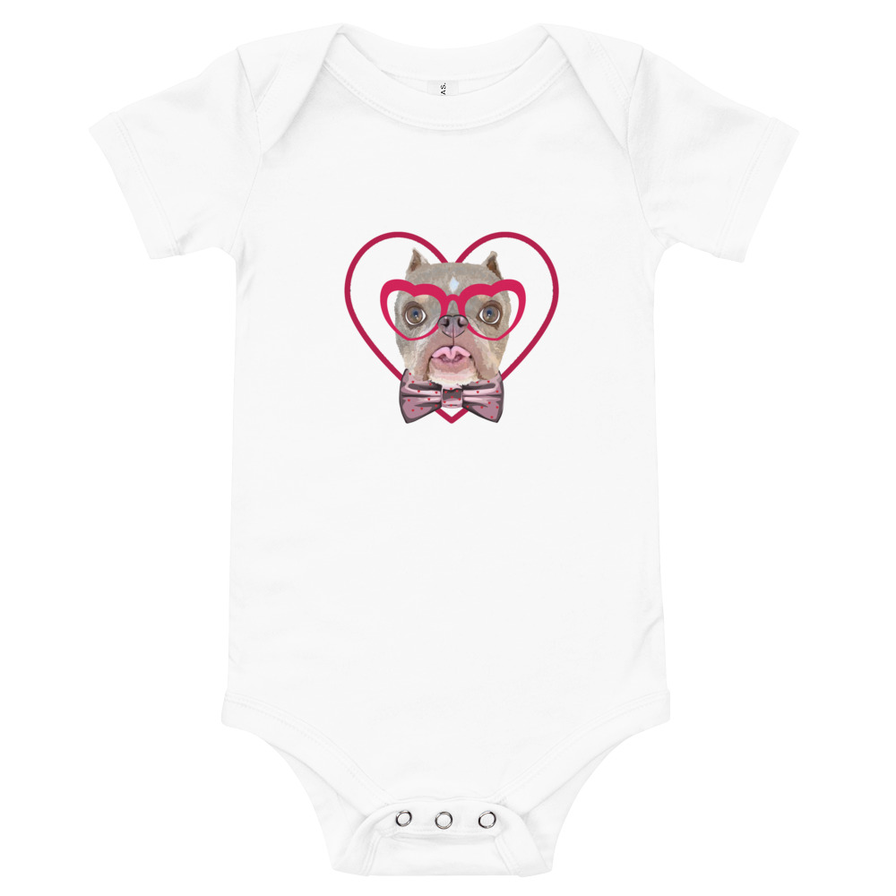 Road Dogs and Rescue Atlas Love Short Sleeve Baby Bodysuit Front White