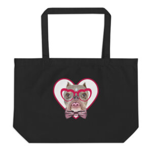 Road Dogs and Rescue Atlas Love Large Organic Tote Bag Front, Black