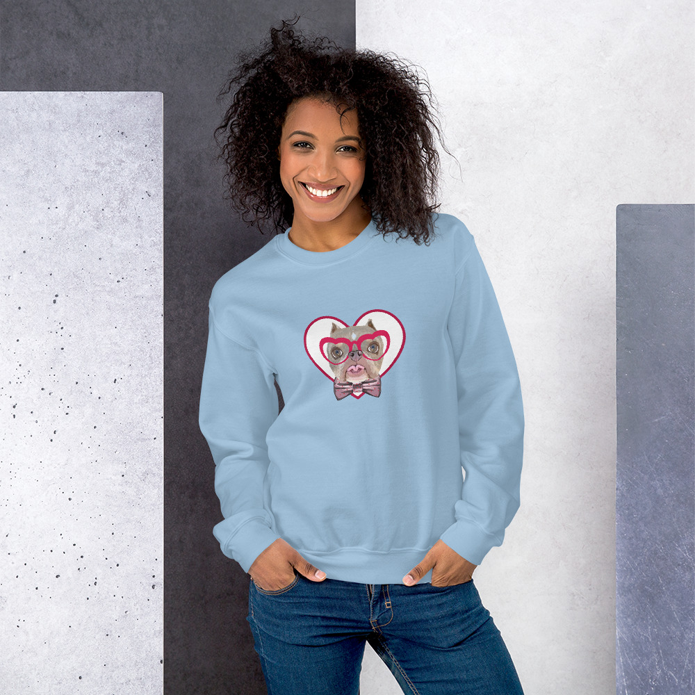Road Dogs and Rescue Atlas Love Sweatshirt (Unisex) Front Light Blue