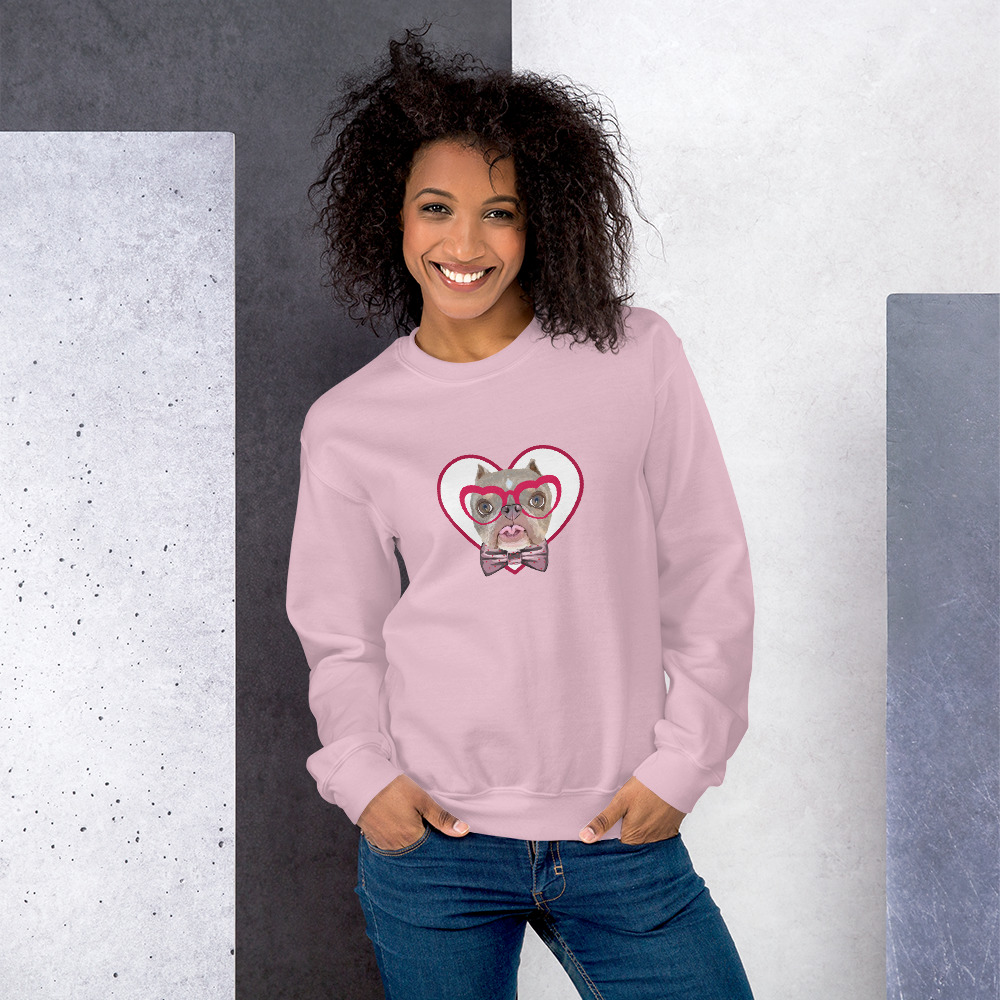 Road Dogs and Rescue Atlas Love Sweatshirt (Unisex) Front Light Pink