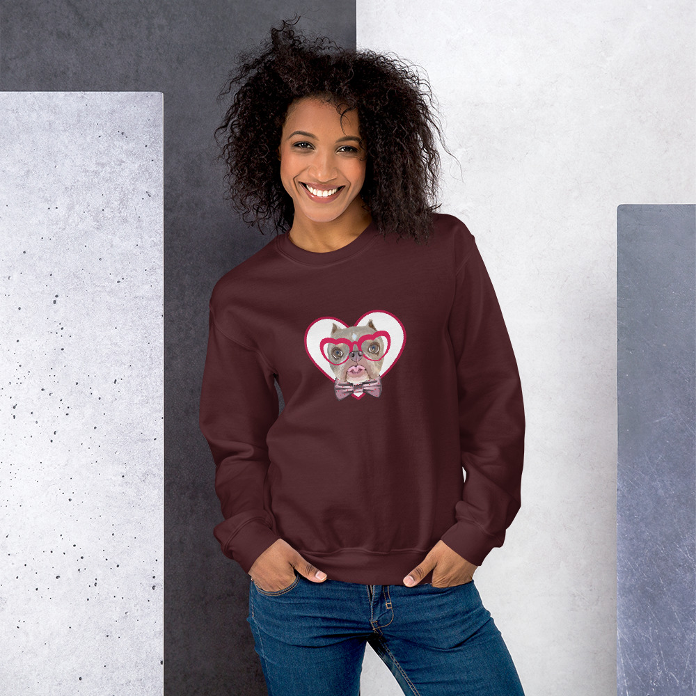 Road Dogs and Rescue Atlas Love Sweatshirt (Unisex) Front Maroon
