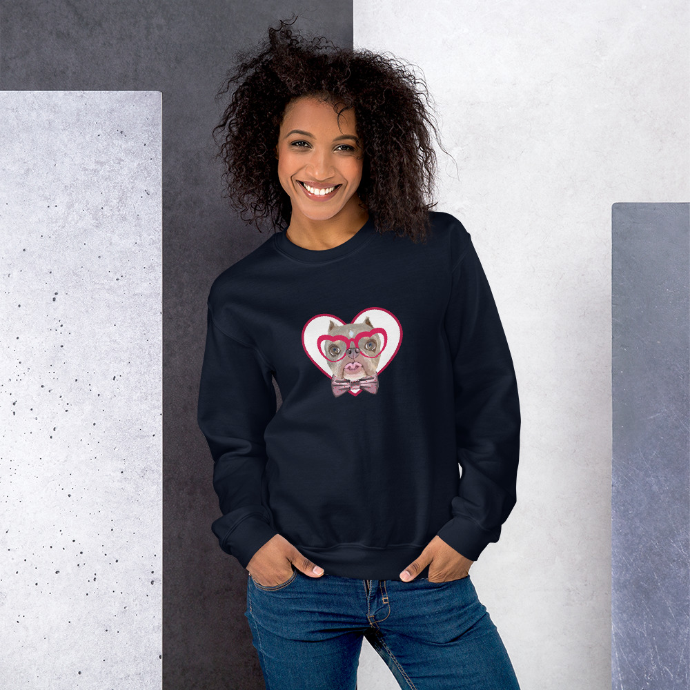 Road Dogs and Rescue Atlas Love Sweatshirt (Unisex) Front Navy