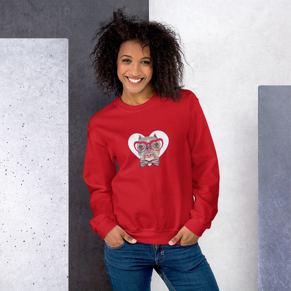 Road Dogs and Rescue Atlas Love Sweatshirt (Unisex) Front Red