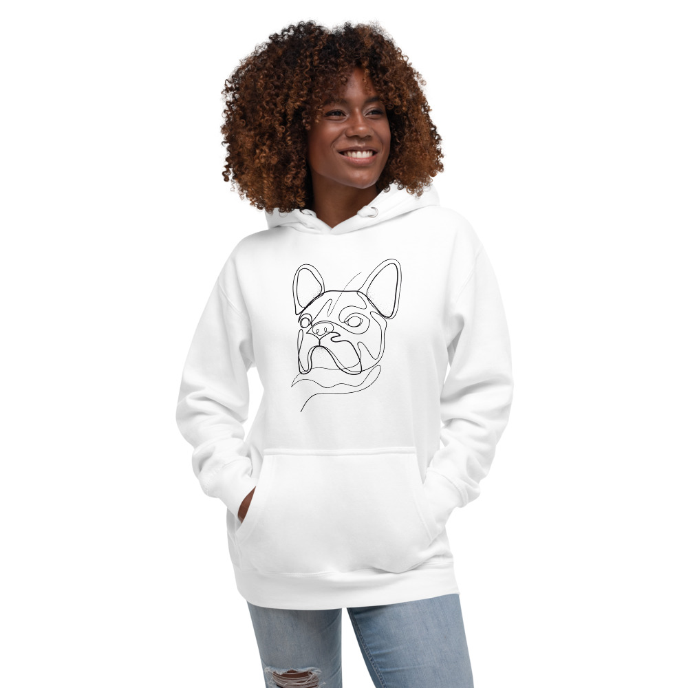 Road Dogs and Rescue Road Dogs Frenchie Love Hoodie (Unisex) Front White